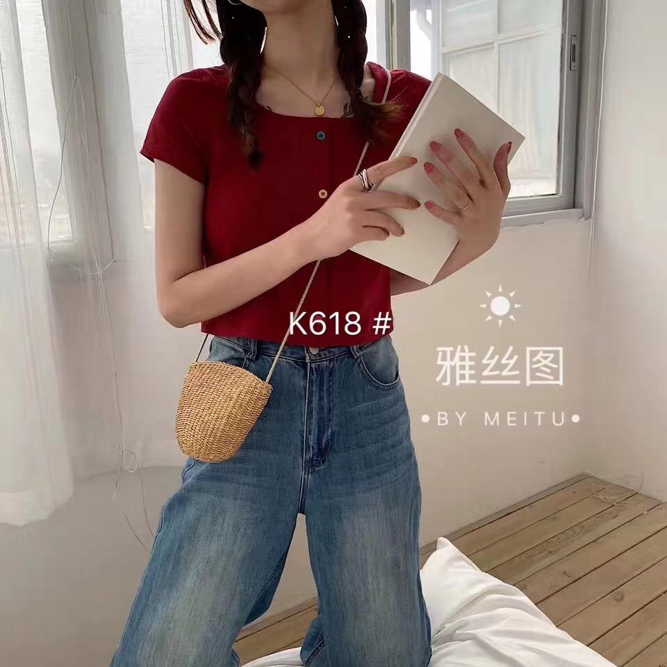 领短袖t恤女纯色2019夏季新款韩版小心机宽松显瘦露锁骨上衣ins