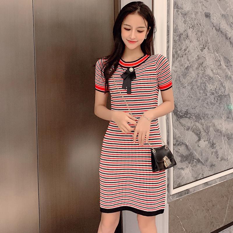 夏季裙子女修身2019新款 氣質款小香風蝴蝶結條紋短袖冰絲連衣裙