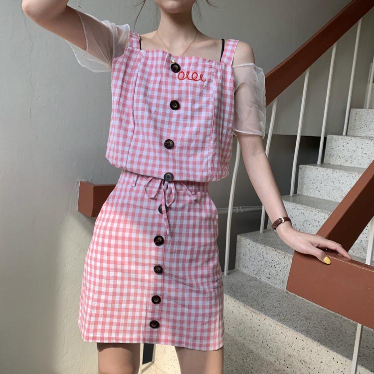 实拍实价韩国鬼马少女格子拼接网纱袖吊带上衣+高腰半身短裙女