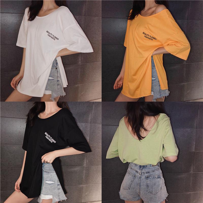 實拍實價 控價32 韓版慵懶風中長款寬松顯瘦開叉短袖T恤