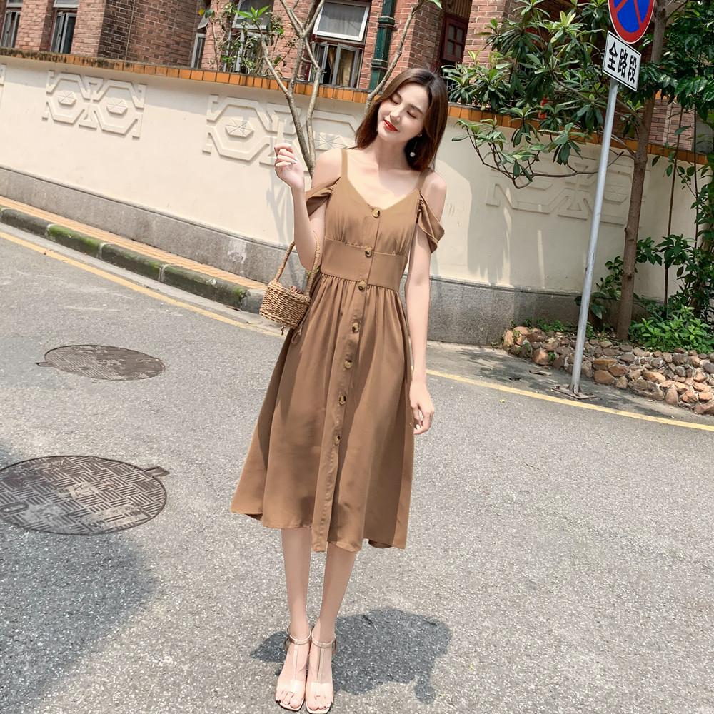 标价加20起 实拍2019夏装新款单排扣收腰纯色吊带中长连衣裙