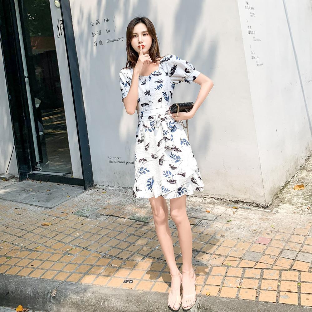 标价加20起 实拍2019夏装新款荷叶边收腰短袖花色A字连衣裙