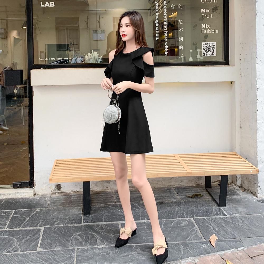 标价加20起 实拍2019夏装新款圆领收腰纯色A字小黑裙