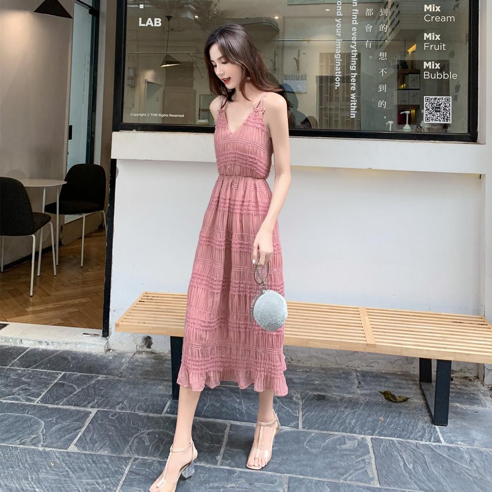 标价加20起 实拍2019夏装新款工艺吊带收腰中长款网红连衣裙