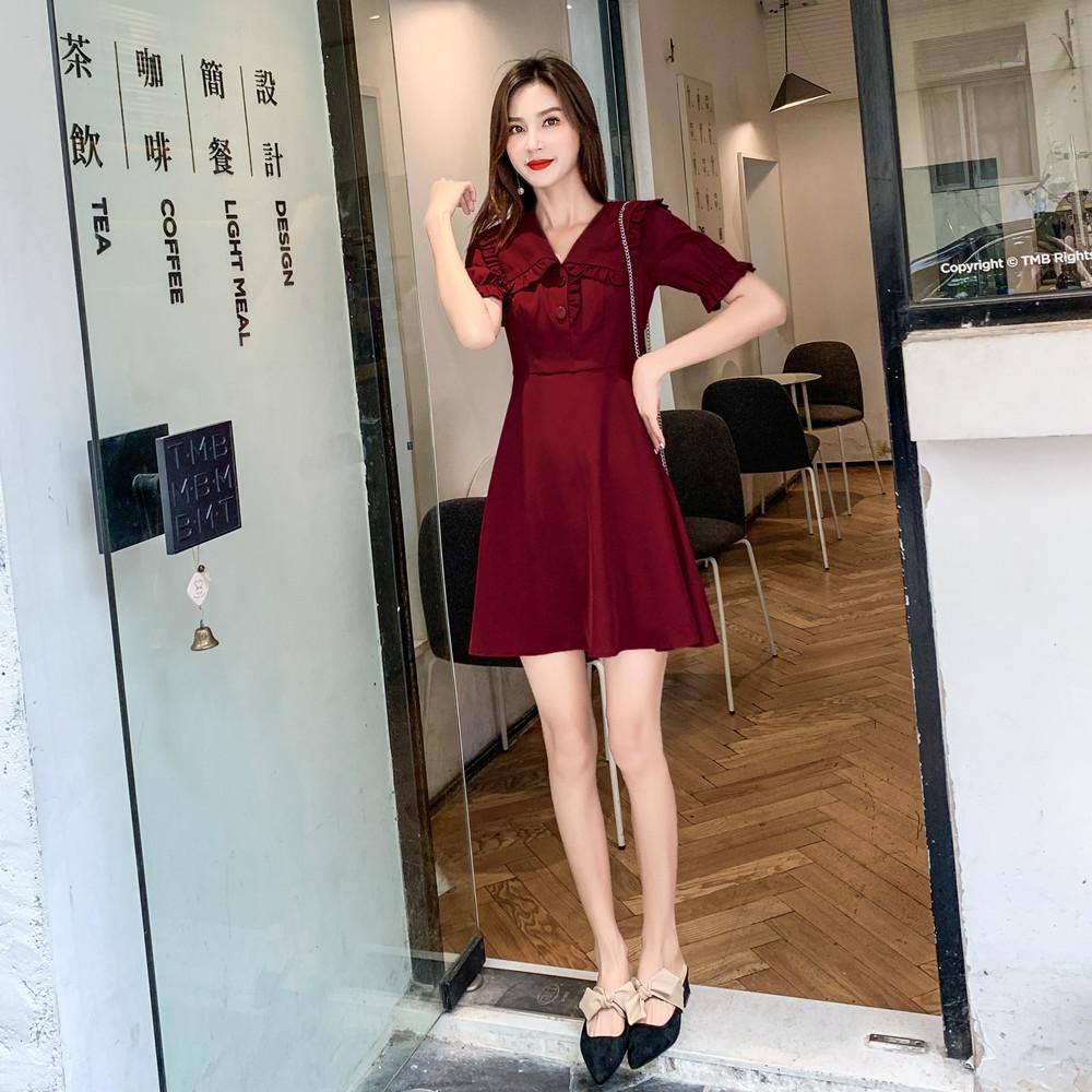 标价加20起 实拍2019夏装新款娃娃领荷叶边收腰A字网红连衣裙