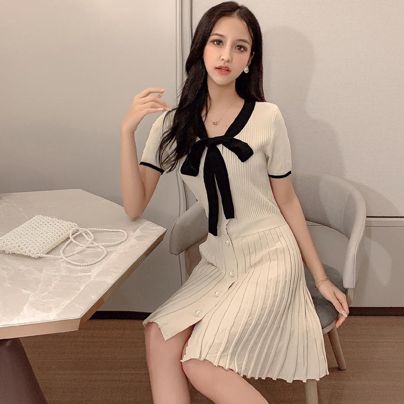 法式高端2019氣質收腰顯瘦連衣裙仙女超仙新款夏女冰絲針織裙子