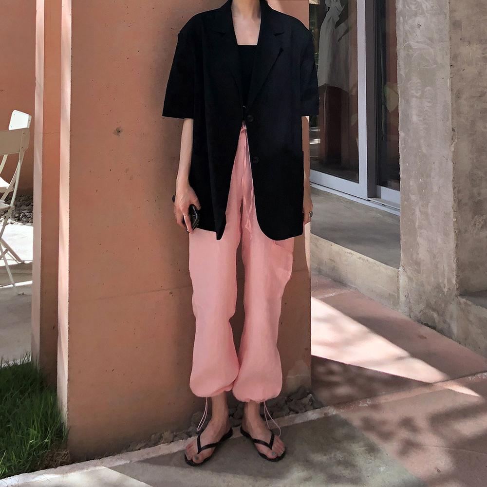 棉麻 寬松 短袖西服外套+ 粉色束腳休閑褲 套裝
