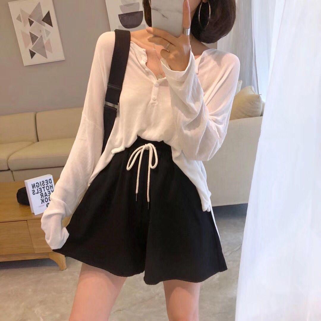 The lemon夏季韩版宽松薄款圆领单排扣长袖冰丝针织衫T恤女防嗮衣