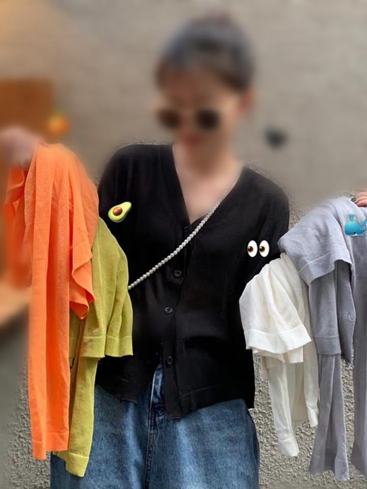 2019新款外搭薄款空調衫夏季韓版防曬衫長袖v領針織開衫女上衣潮