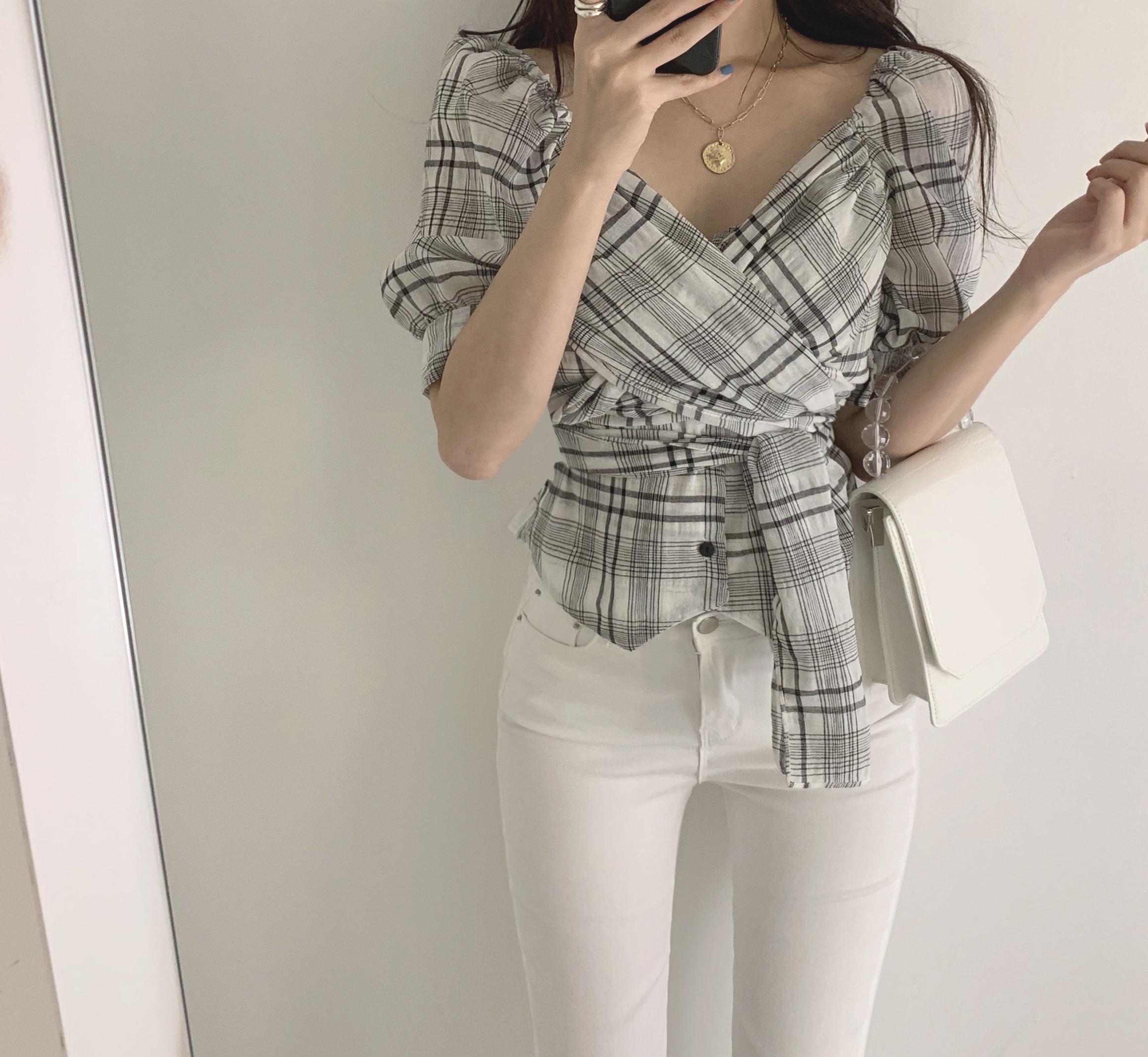 現貨供應韓國chic個性交叉綁帶格紋性感小v領上衣襯衫女