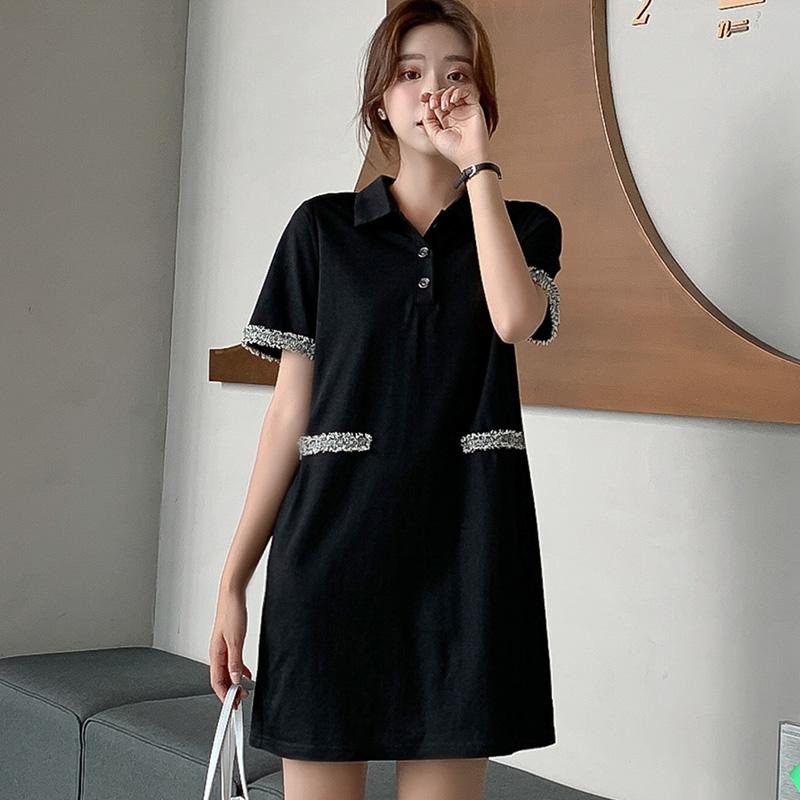 實拍2019新款夏裝韓版短袖中長T恤裙學生夏季寬松上衣女顯瘦裙子