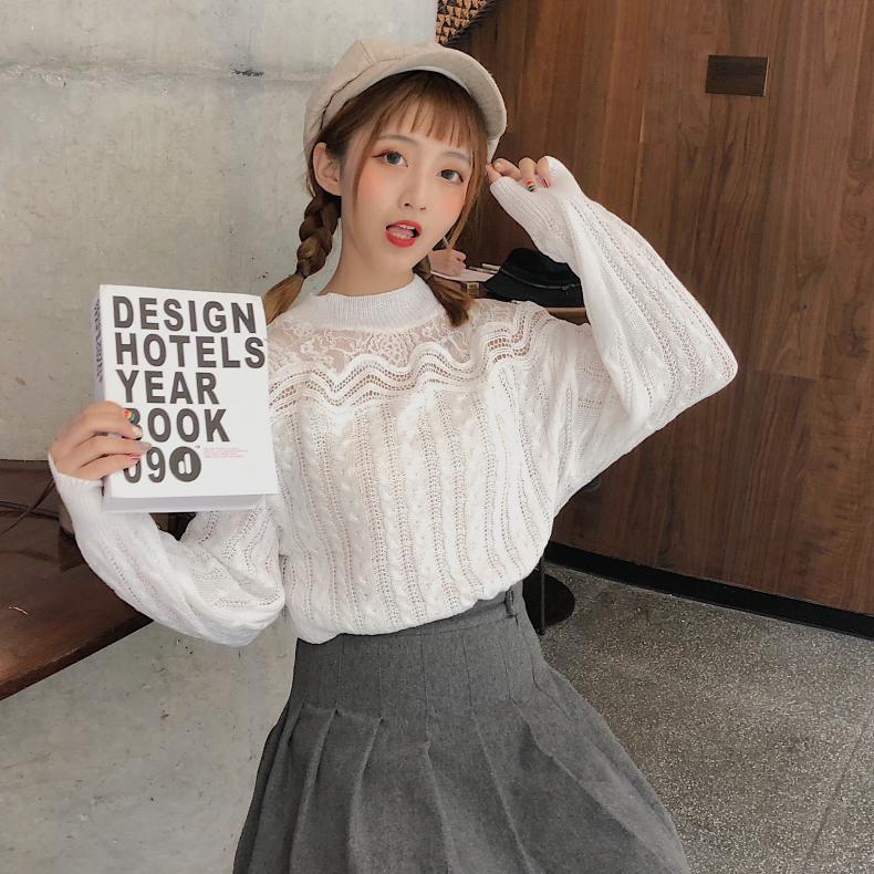 实拍 2019秋季新款韩版蕾丝镂空套头毛衣针织衫女慵懒风宽松上衣