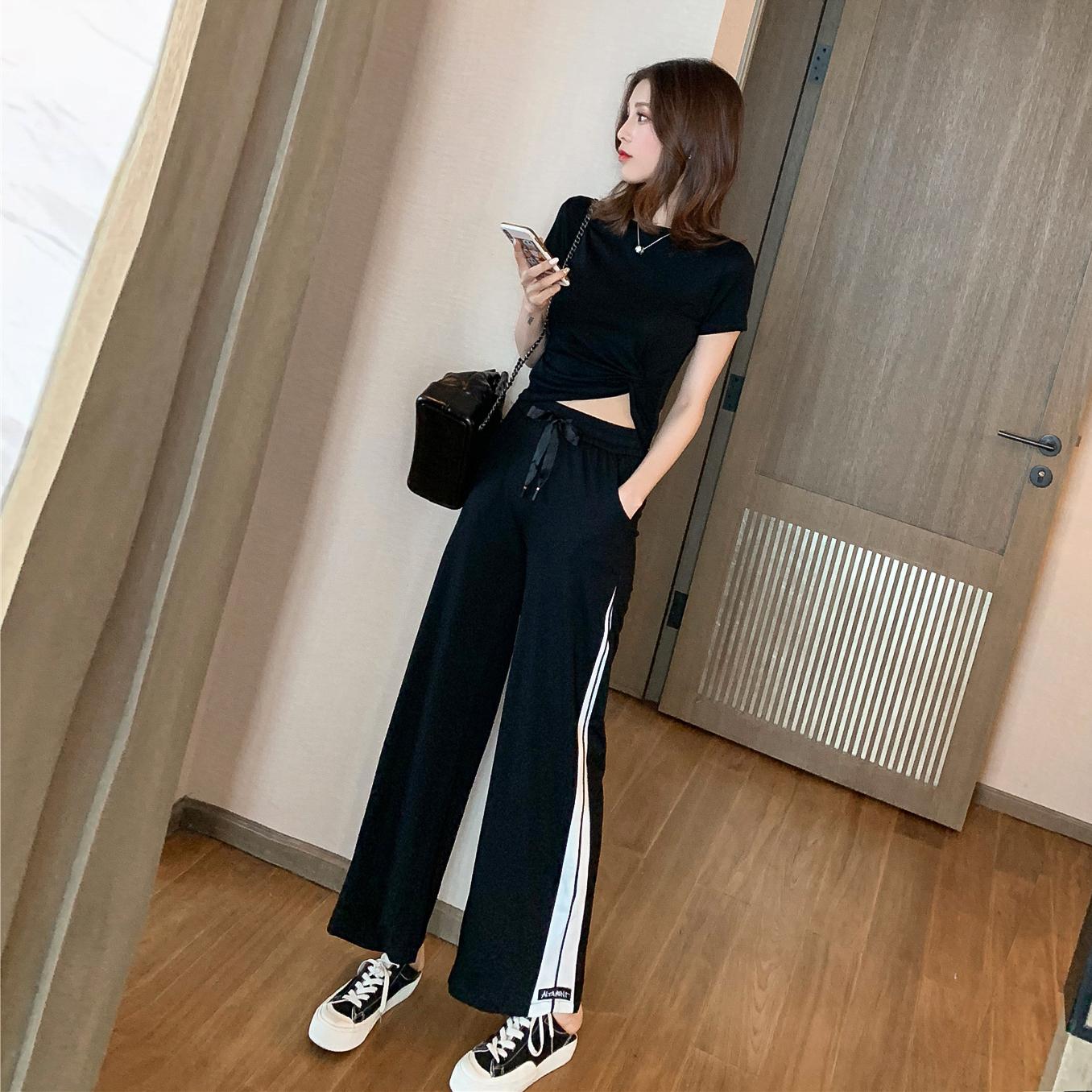 2019夏季新款高腰条纹坠感套装女休闲宽松直筒阔腿裤两件套T恤