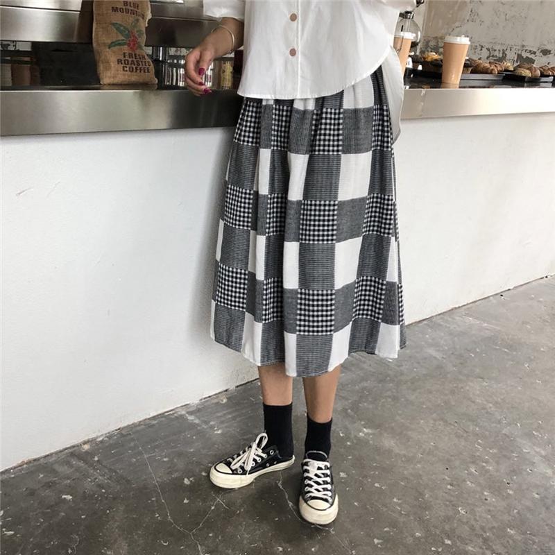 亚博娱乐平台入口实价~ulzzang学院风少女拼接格子半身裙女