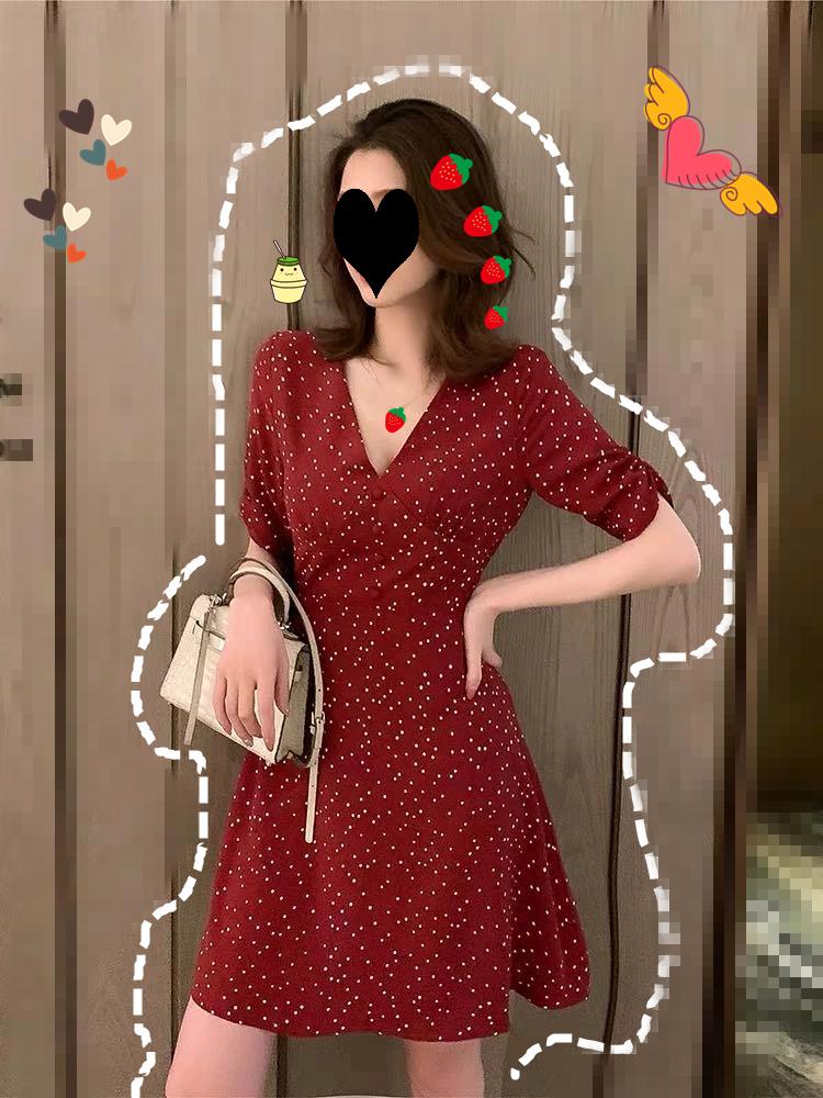 夏裝2019新款甜美牛油果綠波點連衣裙女收腰顯瘦露背a字雪紡裙子
