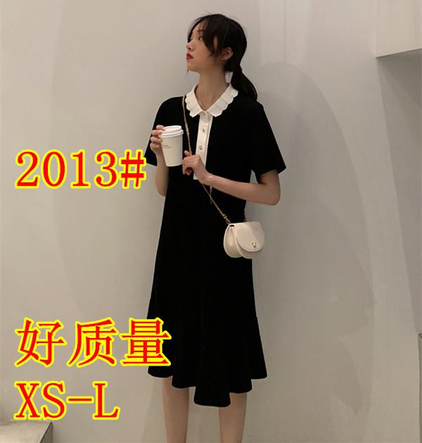 Nnzes 智熏裙法式桔梗裙2019夏新款黑色收腰顯瘦氣質復古連衣裙女