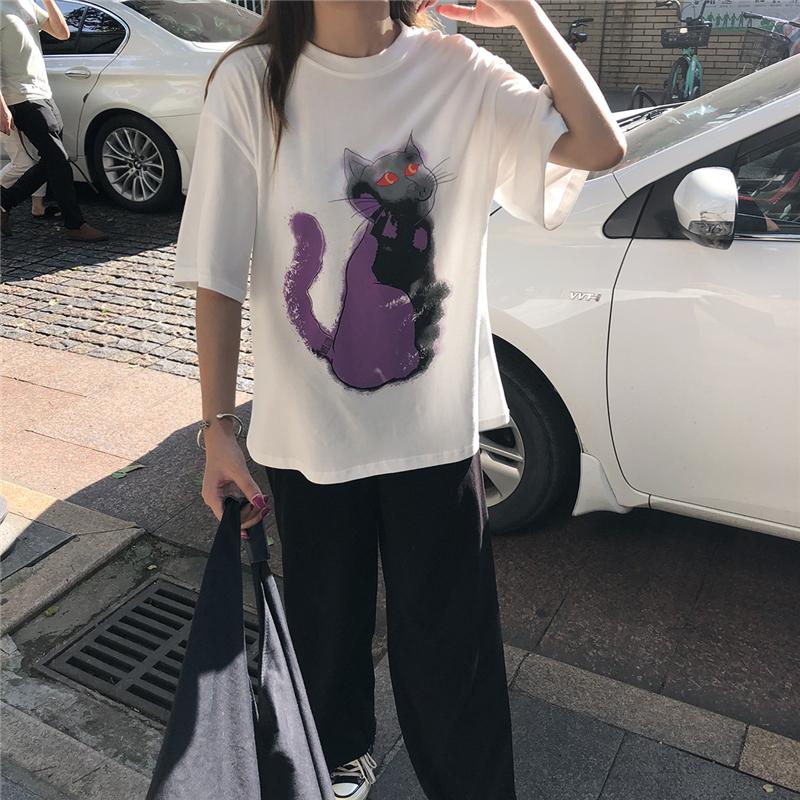 亚博娱乐平台入口实价~~ 2019新款百搭ins白色猫咪印花宽松短袖t恤女夏