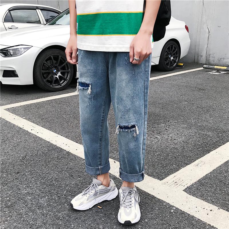 2019夏季新款男士破洞彈力九分休閑褲直筒九分牛仔褲男老爹透氣褲