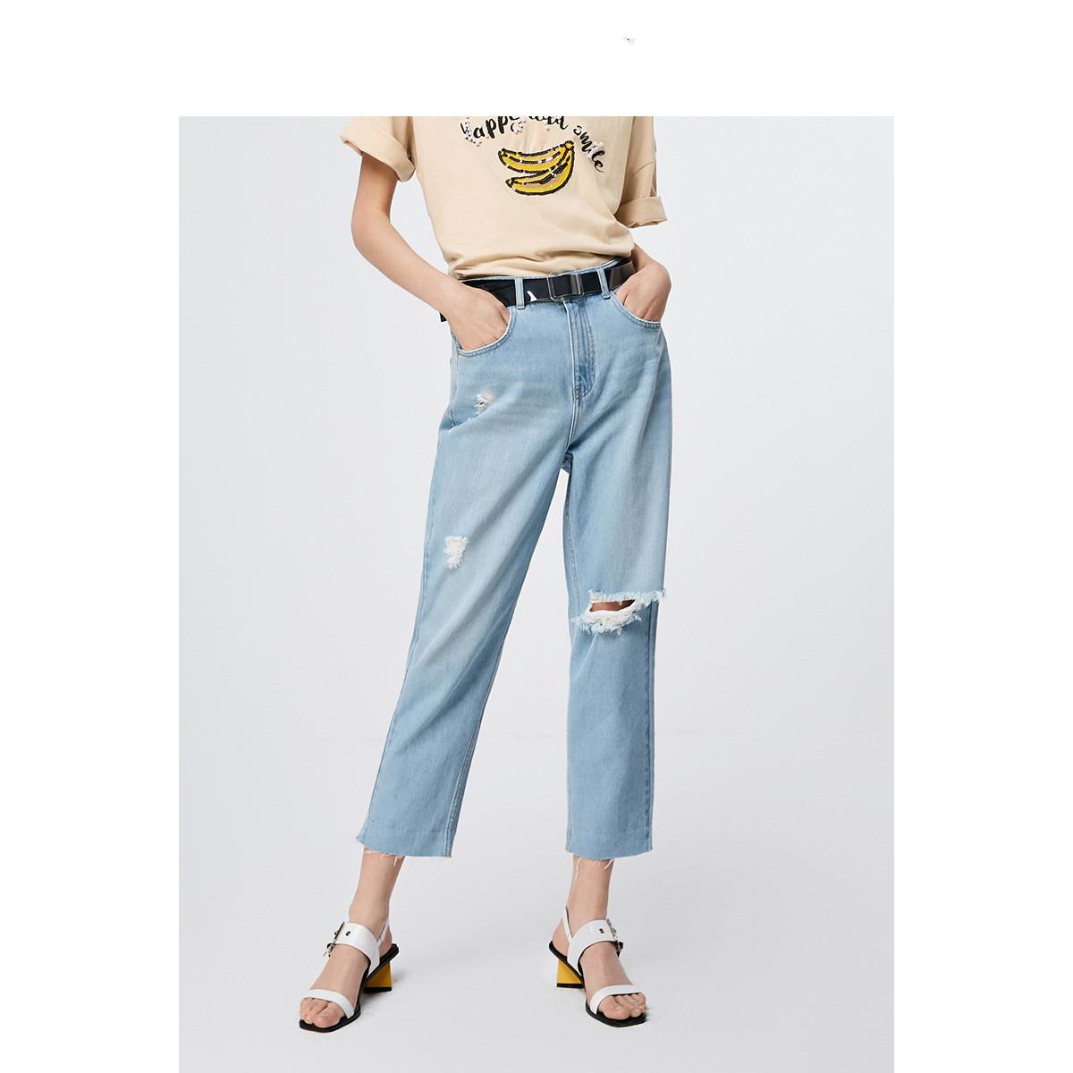 2019夏季新款高腰寬松卷邊毛邊九分牛仔褲女破洞時尚顯瘦
