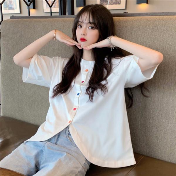 ins超火2019夏季新款韩版短袖学生小心机小众设计感短袖T恤女潮