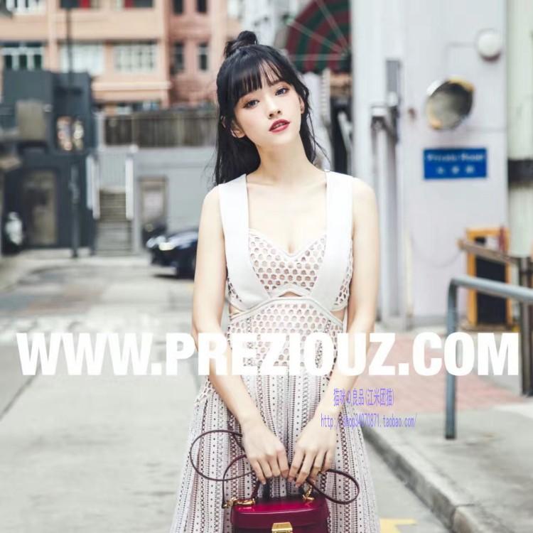新款品牌女裝露背百褶蕾絲拼接高腰背帶連衣裙洋裝小禮服