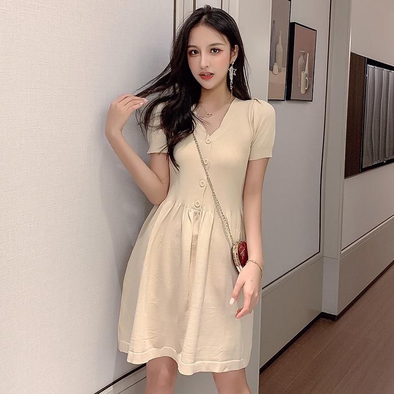 針織裙子女2019新款小個子甜美夏季透氣質收腰短袖連衣裙修身短裙