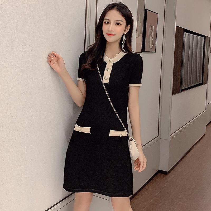 SIXONE 连衣裙2019新款夏 女黑色亚博开户宽松显瘦中长款针织收腰裙子
