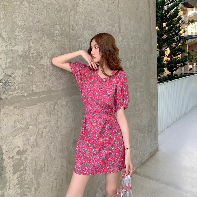 實拍實價#控價3元-韓版收腰顯瘦小碎花連衣裙