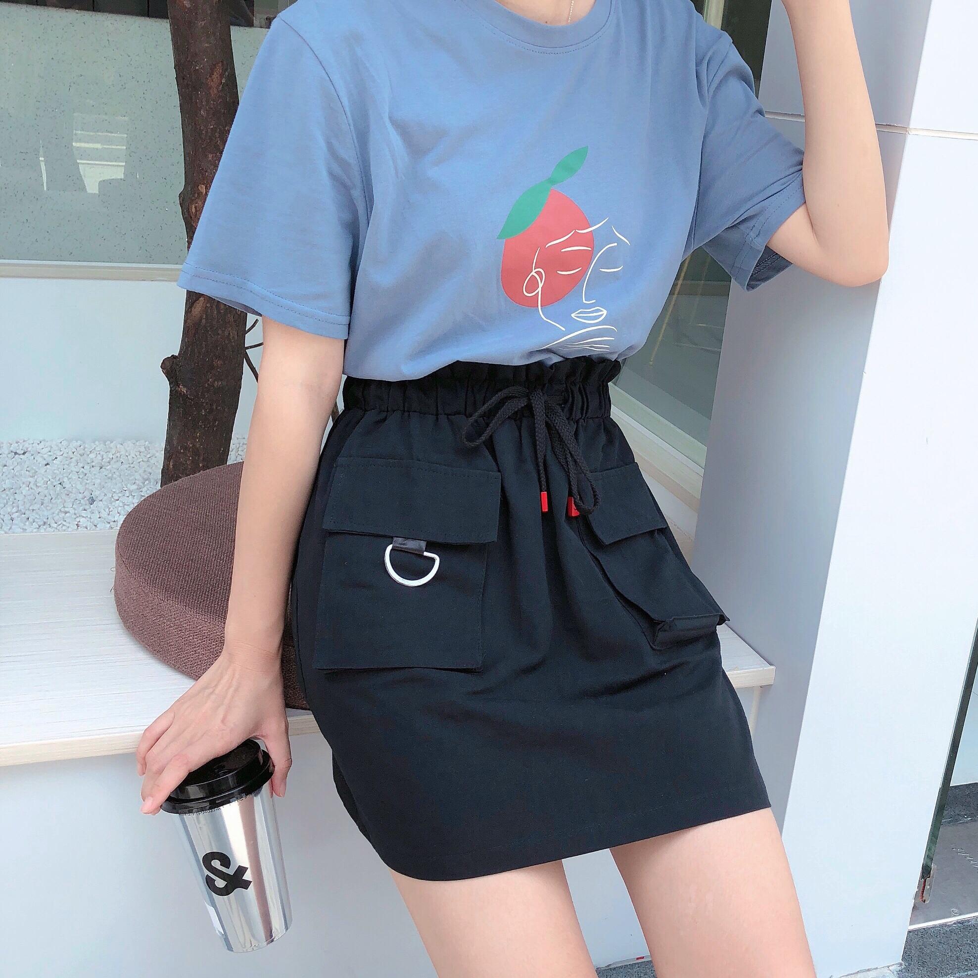 實拍實價~韓版短袖T恤女桃子女孩印花寬松百搭學生打底衫