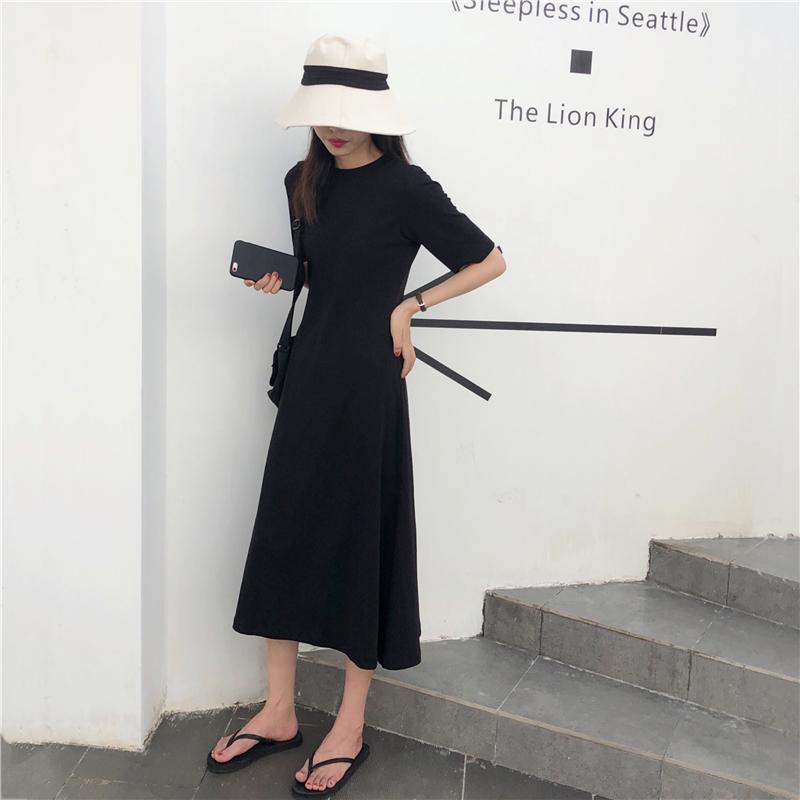 實拍實價 控價+5 法式復古顯瘦紙片人長款連衣裙