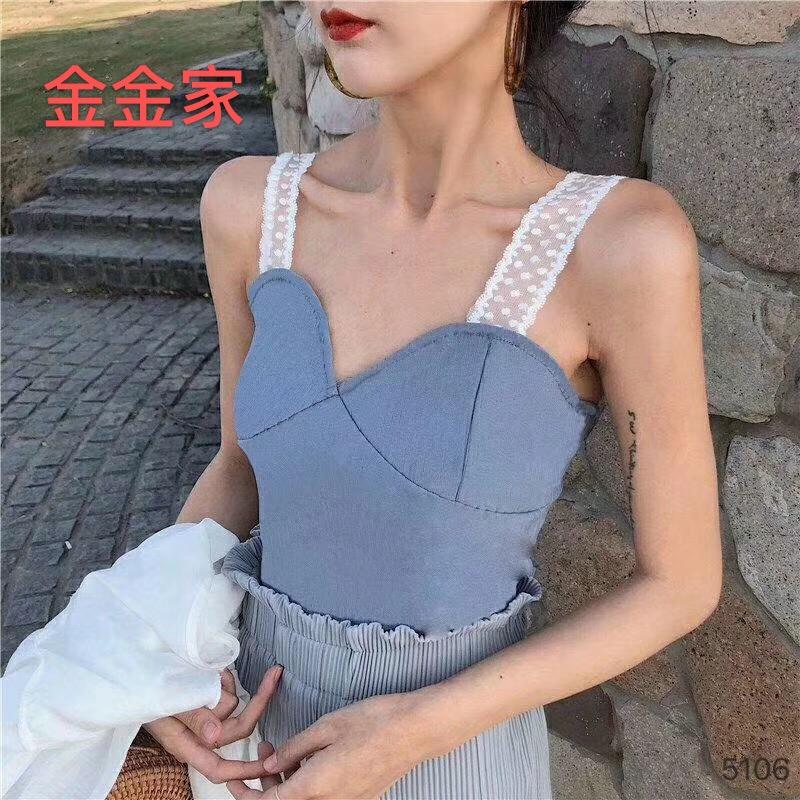 爆款蕾丝吊带性感裹胸显瘦针织