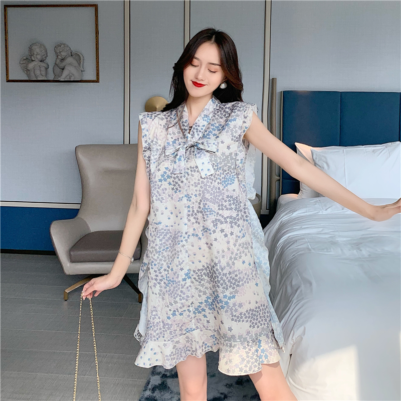 實拍實價#控價3元-韓版碎花荷葉邊無袖連衣裙