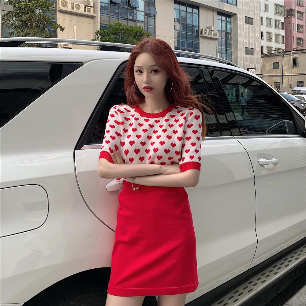 實拍2019夏裝新款愛心提花短袖針織衫女高腰半身裙網紅兩件套套裝