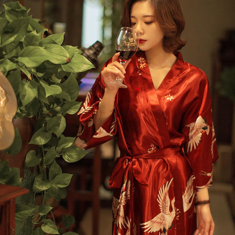 睡衣女夏冰丝绸新款性感女士睡裙亚博开户学生可爱公主风浴袍大码晨袍