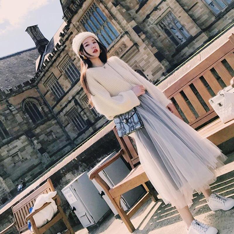 毛衣+半身裙女士连衣裙网纱裙两件套装秋冬季宽松女式仙女裙子女