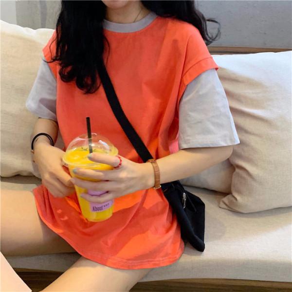 夏季新款纯色拼接假两件亚博开户宽松T恤衫ins原宿风女学生百搭短袖潮