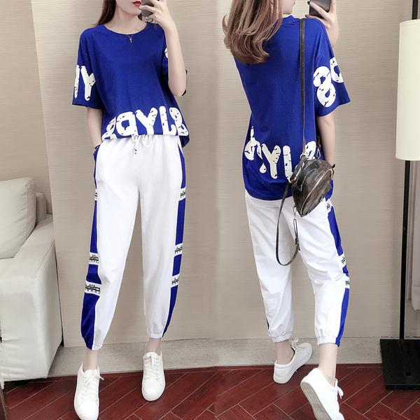 短袖運動套裝女夏季2019新款韓版寬松時尚網紅氣質休閑兩件套夏天