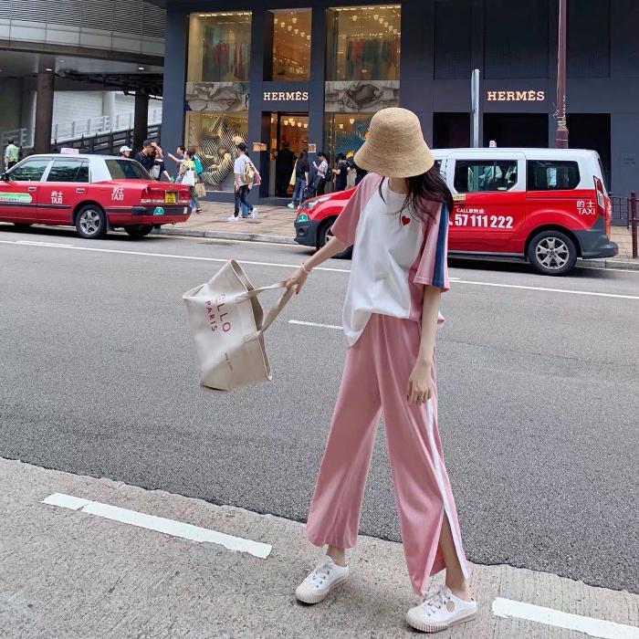 休閑套裝女2019新款女裝潮洋氣時尚網紅運動風T恤闊腿褲兩件套夏