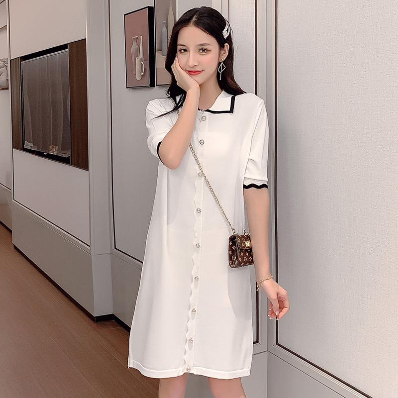 連衣裙女2019新款夏季韓版修身曲珠冰絲針織裙中長款氣質打底裙子