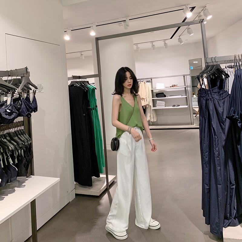SIXONE 闊腿褲女高腰垂感2019夏季新款寬松韓版薄款白色直筒褲子