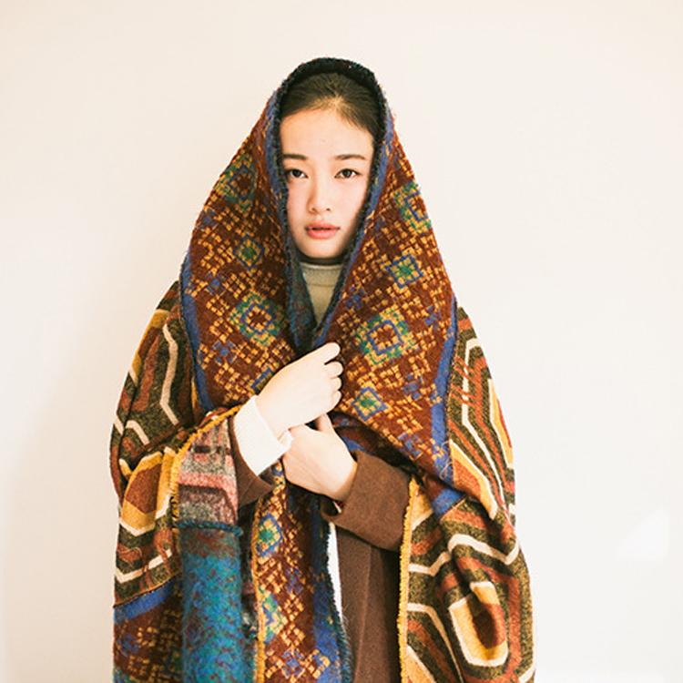 度假風西藏尼泊爾旅游民族花色仿羊絨加厚多用途超大披肩青海圍巾