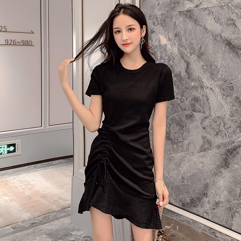 針織打底裙 修身短袖小個子連衣裙女2019新款夏抽繩荷葉邊短裙子