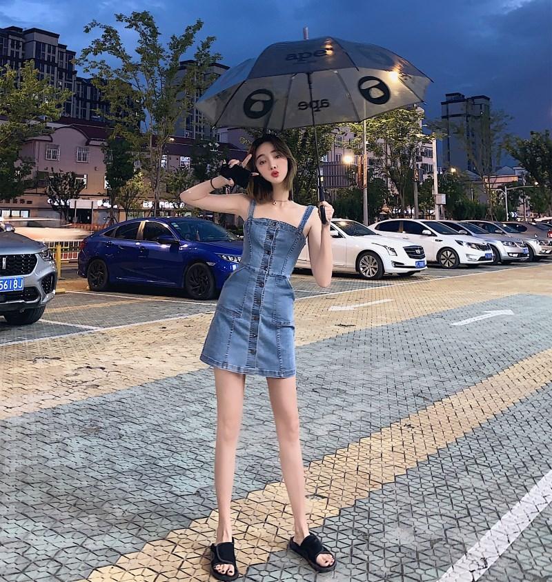 實拍實價 控價55 2019新款洋氣收腰顯瘦牛仔吊帶裙背帶裙