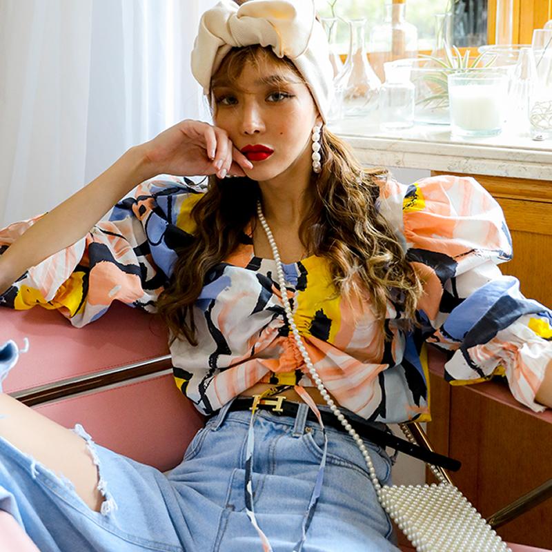 韓版時尚百搭個性抽繩拼色荷葉邊短款泡泡袖襯衫