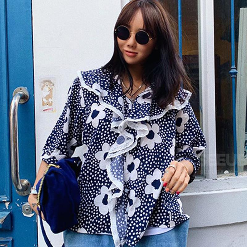 韓國東大門V領荷葉邊領花朵印花甜美時尚洋氣寬松百搭襯衫女