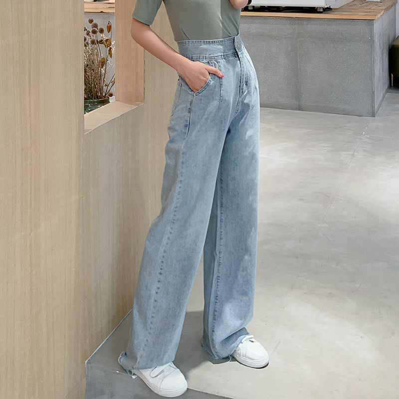 高腰垂感闊腿褲女夏天薄款寬松直筒泫雅拖地風老爹牛仔褲