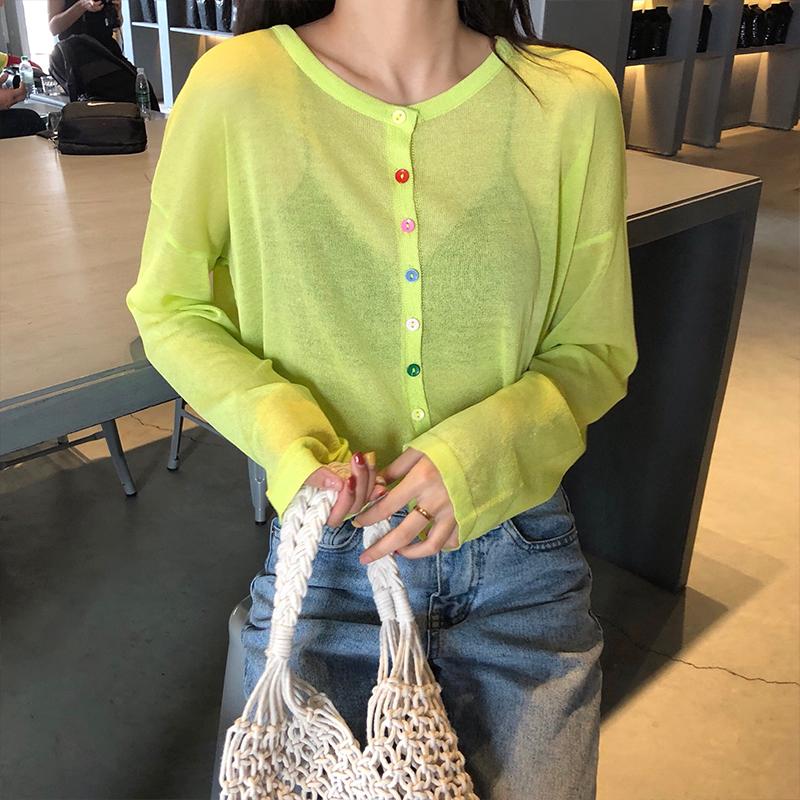 牛油果糖绿果色针织长袖防晒衫女纽扣薄款外套夏chic少女心开衫