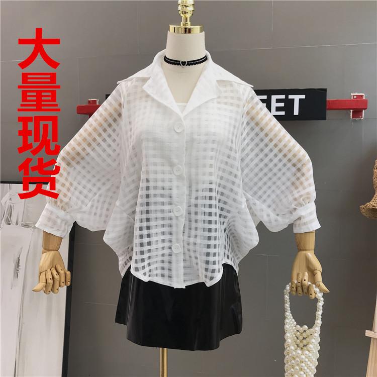 2019夏季新款甜美洋氣時尚網紗格子縷空泡泡袖超仙防曬襯衫女上衣