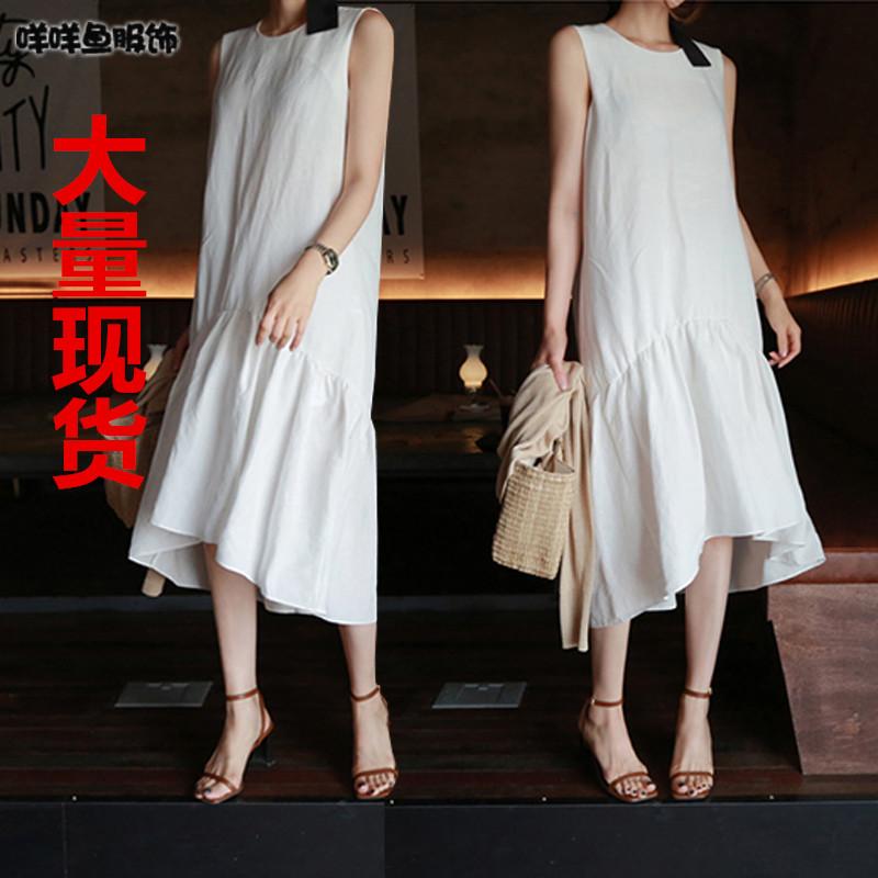 韓國代購女裝2019夏季新款寬松韓版顯瘦過膝無袖雪紡連衣裙中長款