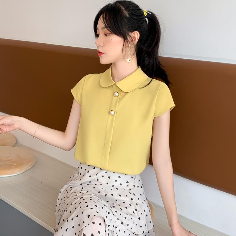 實拍甜美淑女飛飛袖雪紡襯衫女韓版2019新款夏短袖娃娃領雪紡衫女